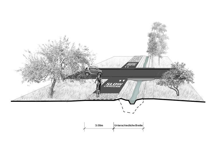 3. Rang / 3. Preis, offener Wettbewerb, Velo- und Fussgängerverbindung Brig <> Visp, 2014