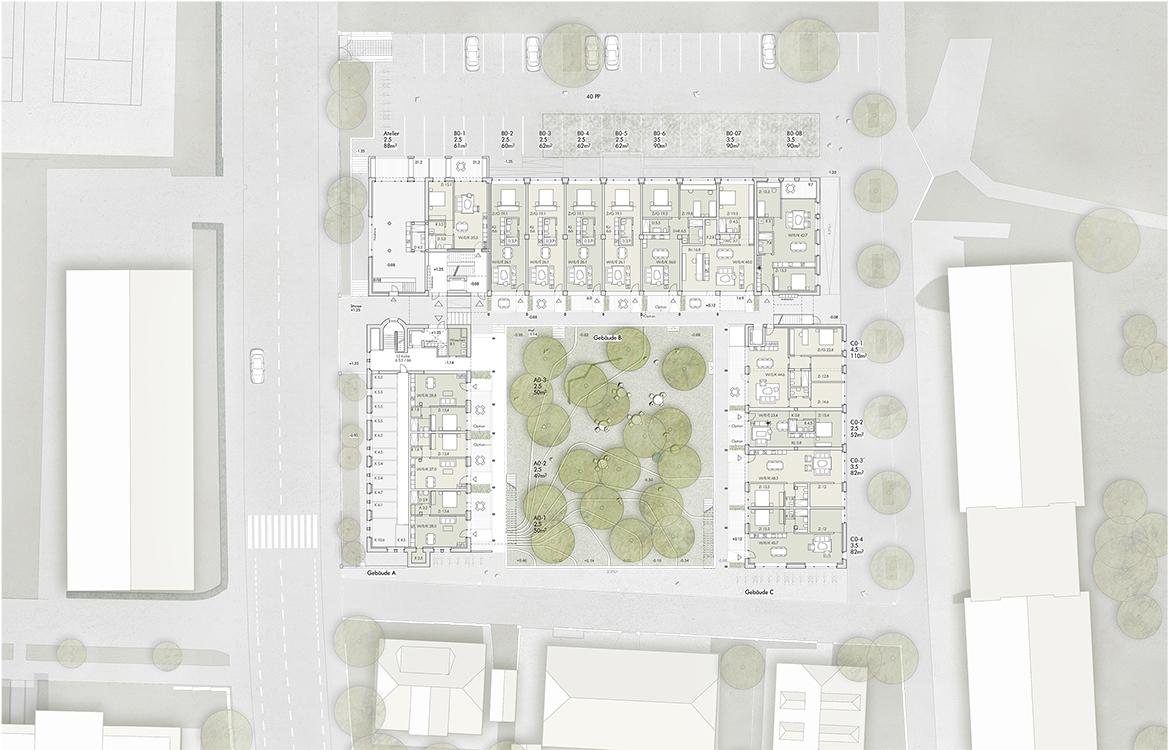 1. Rang / 1. Preis Studienauftrag Arealentwicklung Schwarzenburgstrasse 73, Liebefeld, Empfehlung zur Weiterbearbeitung mit Marti Generalunternehmung / Brügger Architekten