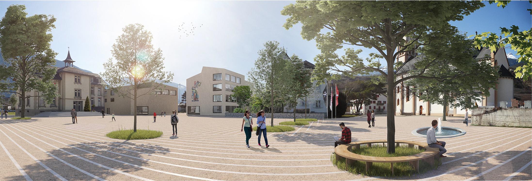 1. Rang  / 1.Preis Ideenwettbewerb auf Einladung mit Präqualifikation ,Aufwertung Dorfzentrum Gemeinde Salgesch' mit Albrecht Architekten und Kontextplan