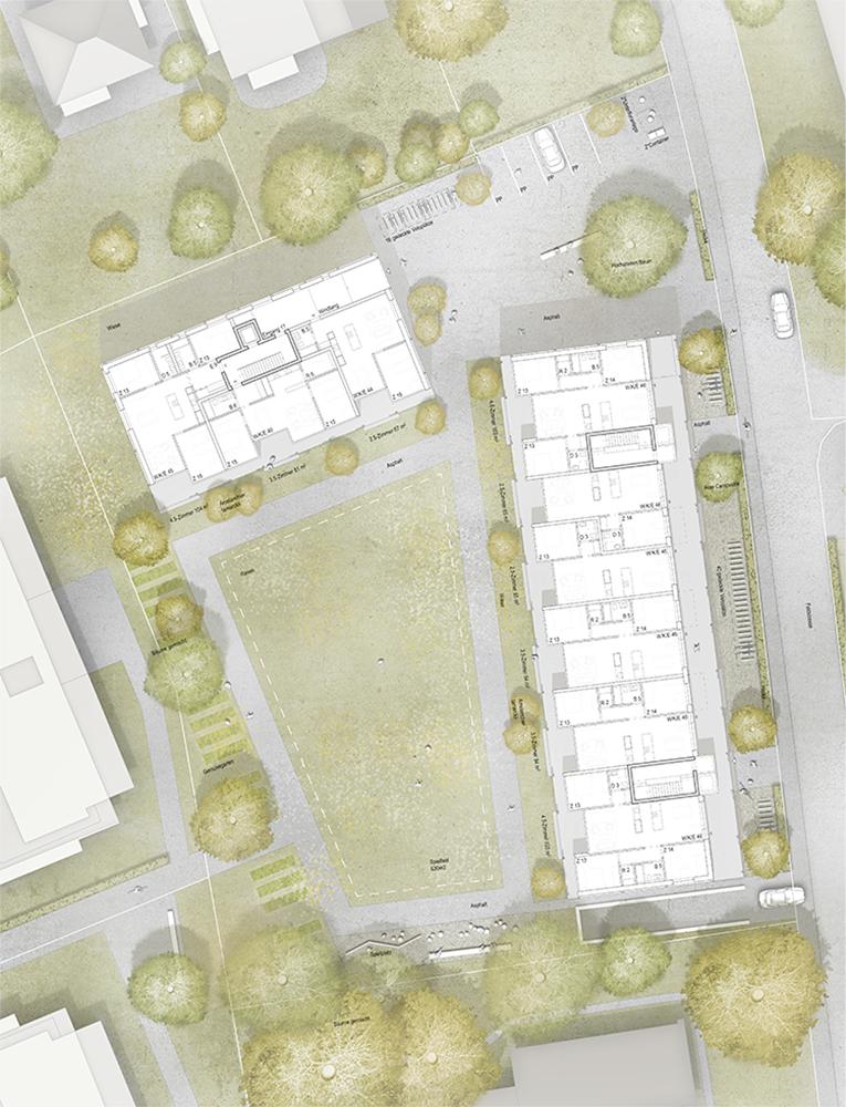 3. Rang / 3. Preis Ersatzneubauten Siedlung Feldstrasse, Thun, 2015