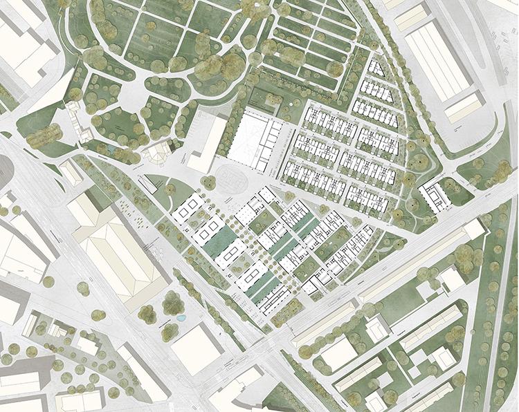 """1. Rang / 1. Preis Städtebauliche Studie """"Am Walkeweg""""  Studienauftrag im selektiven Verfahren, 2018"""
