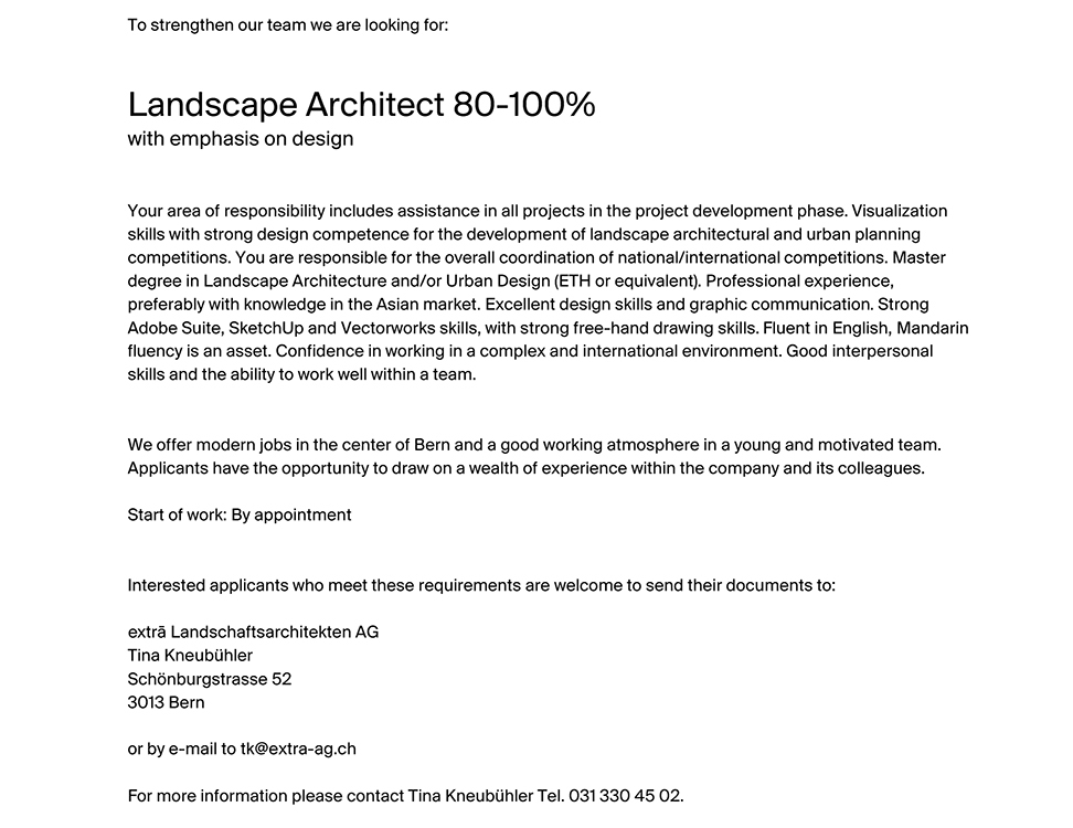 we are looking for a Landscape Architect 80-100%  with emphasis on design